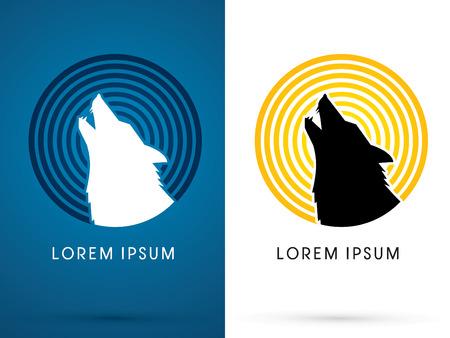 Silhouet Head Huilende wolf met lijn maan licht, teken, embleem, symbool, pictogram, grafisch, vector. Stock Illustratie