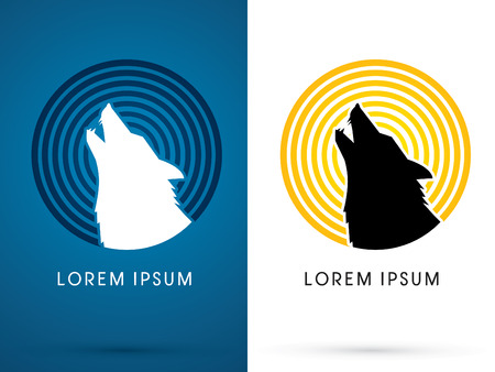 Silhouette  Head Howling wolf with line moon light, sign ,logo, symbol, icon, graphic, vector. Illustration