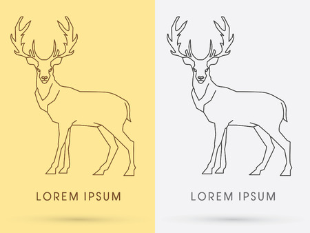 taxidermy: Standing Deer, sign ,logo, symbol, icon, graphic, vector.