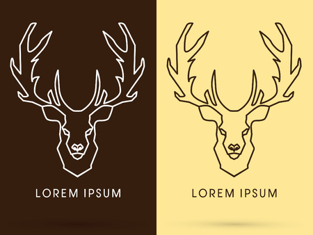 Outline  Deer Head. Big horn, sign ,logo, symbol, icon, graphic, vector. Ilustração