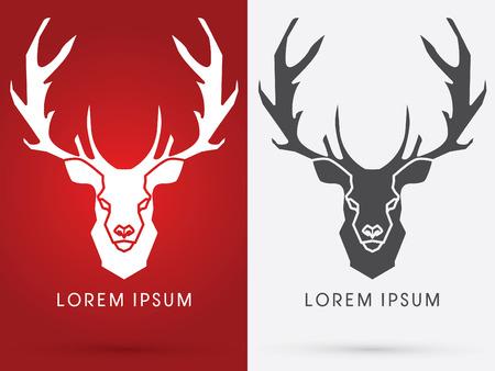 鹿の頭。ビッグホーン、記号、ロゴ、記号、アイコン、グラフィック、ベクター。