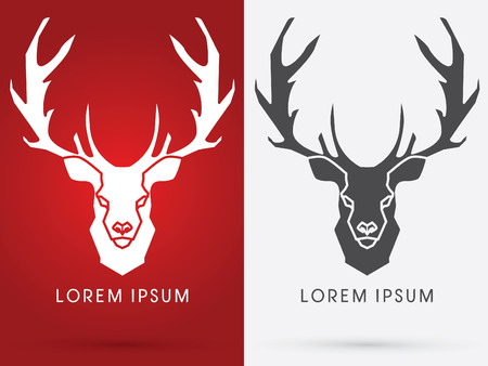 head shape: Deer Head. Big horn, sign ,logo, symbol, icon, graphic, vector.