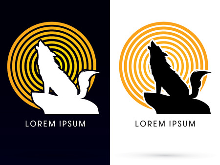howl: Silhouette Howling wolf with line moon light, sign ,logo, symbol, icon, graphic, vector.