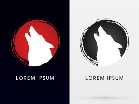 wolves: Silhouette  Head Howling wolf,Designed using grunge brush, sign ,logo, symbol, icon, graphic, vector.