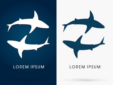 shark fin: Silhouette, Swimming Shark, sign ,logo, symbol, icon, graphic, vector. Illustration
