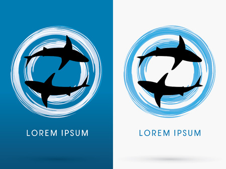 shark mouth: Silhouette, Swimming Shark, on cycle brush background, sign ,logo, symbol, icon, graphic, vector.