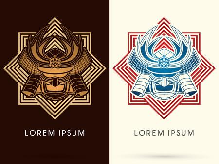 samourai: Masque d'or Samurai, T�te, visage, sur fond carr� graphique, logo, symbole, ic�ne, graphique, vecteur.