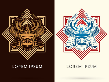 Gold Samurai mask, Head, Face , on square graphic background, logo, symbol, icon, graphic, vector. Illustration