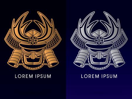 samourai: Luxe or et d'argent, masque Samurai, T�te, visage, logo, symbole, ic�ne, graphique, vecteur.
