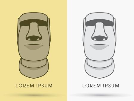 moai: Moai, Front Rostro de Piedra, muestra, logotipo, s�mbolo, icono, gr�fico, vector. Vectores