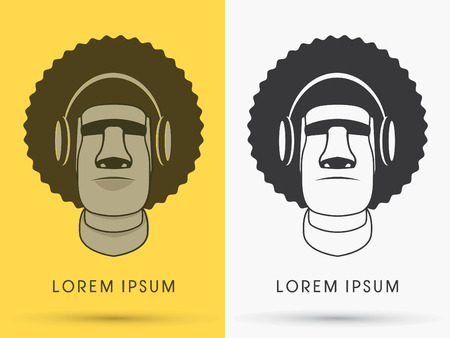 Moai , Afro hair with headphone, sign ,logo , symbol, icon, graphic, vector.