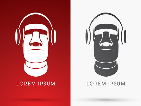 Moai with headphone, sign ,logo , symbol, icon, graphic, vector. Stock Vector - 42207146