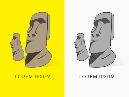 moai: Moai, Rostro de Piedra, muestra, logotipo, s�mbolo, icono, gr�fico, vector.