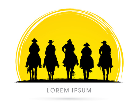 western cartoon: Silhouette, Cowboy Gangs on horse, on grunge moon background, sign, logo, symbol, icon, graphic, vector. Illustration