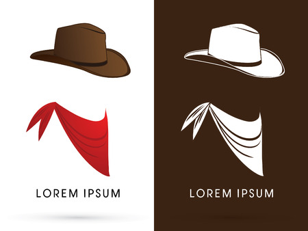 Kowbojski kapelusz i szal, znak, symbol, logo, ikony, grafiki, wektor.