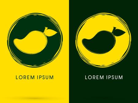 Mango, ontworpen op geel en groen grunge brush achtergrond, teken, embleem, symbool, pictogram, grafisch, vector.