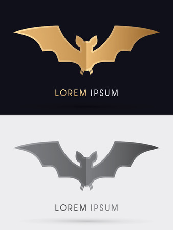batman: Bat fly, designed using gold and black colors, sign, logo, symbol, icon, graphic, vector.
