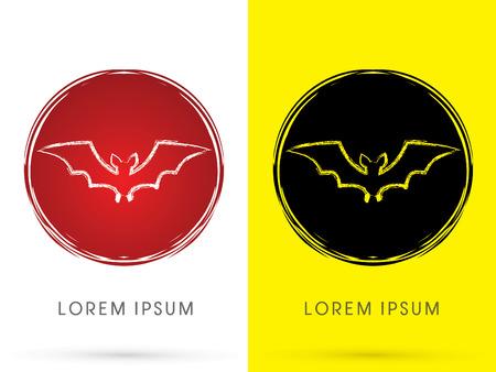 batman: Bat fly , on grunge moon background, sign, logo, symbol, icon, graphic, vector.