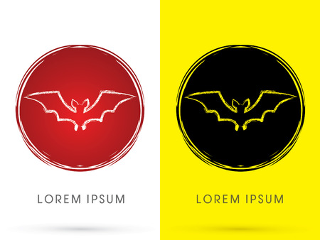 Bat fly , on grunge moon background, sign, logo, symbol, icon, graphic, vector.