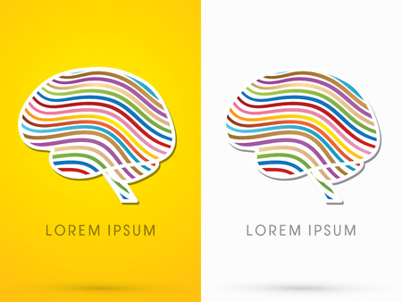 ponder: Brain, designed using colorful line, sign, logo, symbol, icon, graphic, vector.