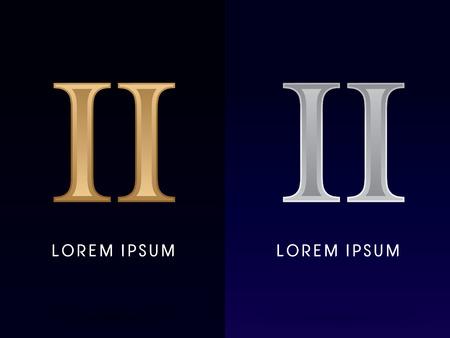roman: 2, II, Lujo Oro y Plata números romanos, muestra, logotipo, símbolo, icono, gráfico, vector.