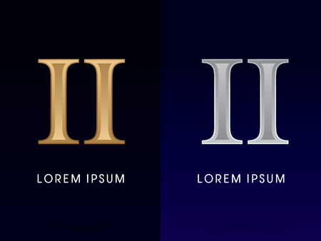 roman: 2, II, Luxury Gold and Silver Roman numerals, sign, logo, symbol, icon, graphic, vector.