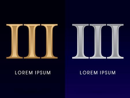 numeros romanos: 3, III, Lujo Oro y Plata números romanos, muestra, logotipo, símbolo, icono, gráfico, vector.
