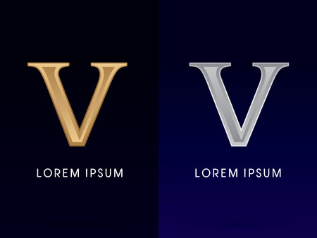5, V ,Luxury Gold and Silver Roman numerals, sign, logo, symbol, icon, graphic, vector.