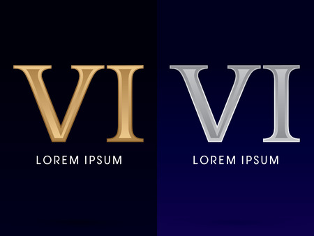 roman numerals: 6, VI ,Luxury Gold and Silver Roman numerals, sign, logo, symbol, icon, graphic, vector.