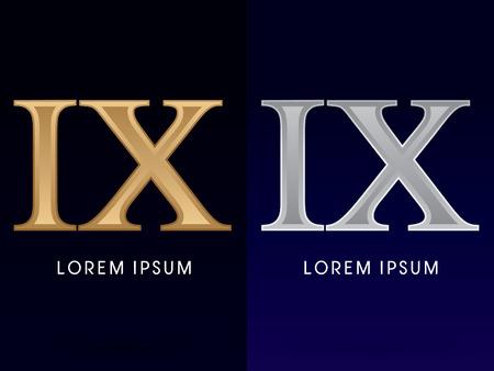 ix: 9, IX ,Luxury Gold and Silver Roman numerals, sign, logo, symbol, icon, graphic, vector.