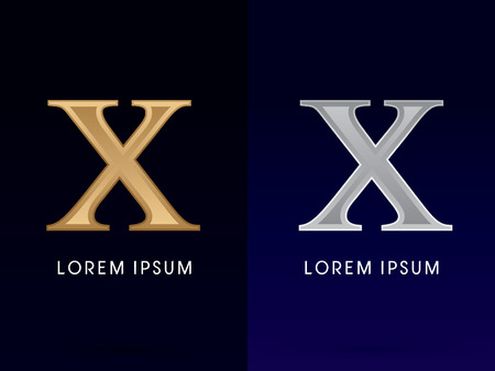10, X ,Luxury Gold and Silver Roman numerals, sign, logo, symbol, icon, graphic, vector.