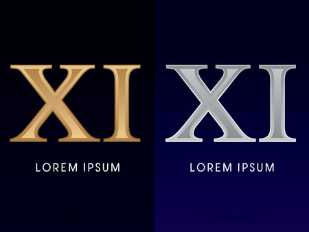 11 number: 11, Xi, ,Luxury Gold and Silver Roman numerals, sign, logo, symbol, icon, graphic, vector.