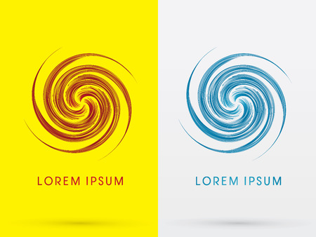 Abstract Spin, design using red and blue line, sign , symbol, icon, graphic, vector. Illustration