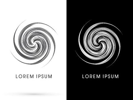 추상 스핀, 흑백 라인, 기호, 기호, 아이콘, 그래픽, 벡터를 사용 하여 디자인. 일러스트