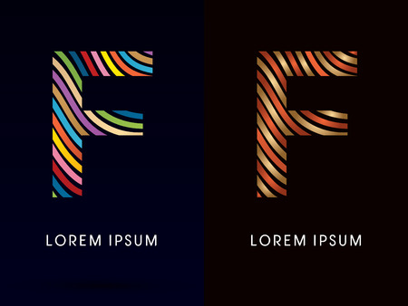 freestyle: F ,colorful font and luxury font ,designed using colorful line on dark background, concept move, wave, water, freestyle, happy, fun, joy, fantasy ,logo, symbol, icon, graphic, vector.