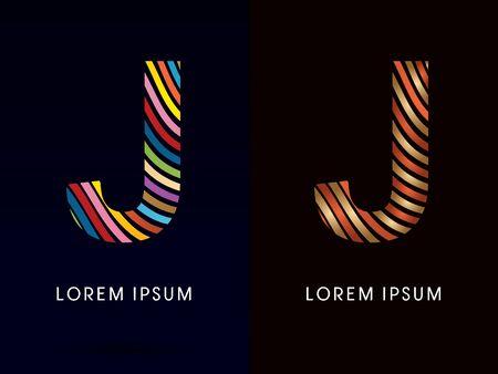 J ,colorful font and luxury font ,designed using colorful line on dark background, concept move, wave, water, freestyle, happy, fun, joy, fantasy ,logo, symbol, icon, graphic, vector. Illusztráció