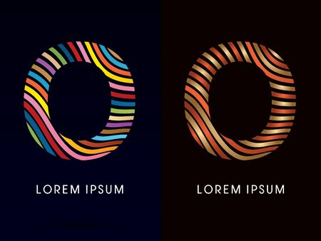 o': O ,colorful font and luxury font ,designed using colorful line on dark background, concept move, wave, water, freestyle, happy, fun, joy, fantasy ,logo, symbol, icon, graphic, vector.