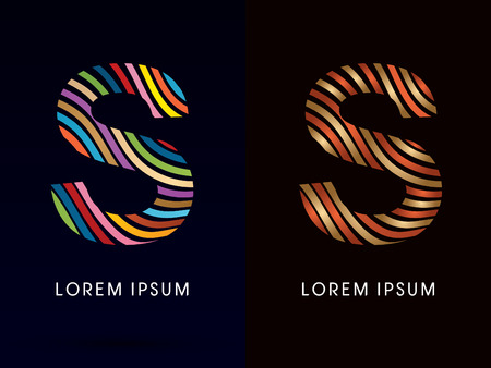 water s: S ,colorful font and luxury font ,designed using colorful line on dark background, concept move, wave, water, freestyle, happy, fun, joy, fantasy ,logo, symbol, icon, graphic, vector.