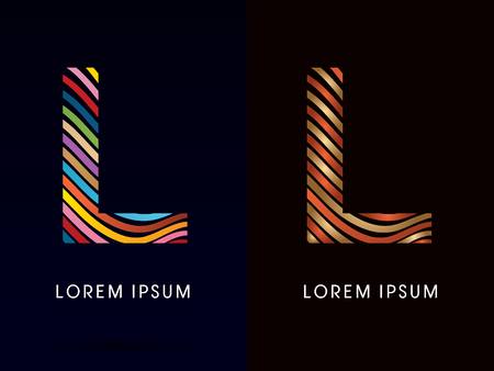 l background: L ,colorful font and luxury font ,designed using colorful line on dark background, concept move, wave, water, freestyle, happy, fun, joy, fantasy ,logo, symbol, icon, graphic, vector.