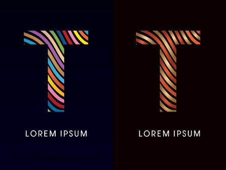 t background: T ,colorful font and luxury font ,designed using colorful line on dark background, concept move, wave, water, freestyle, happy, fun, joy, fantasy ,logo, symbol, icon, graphic, vector.