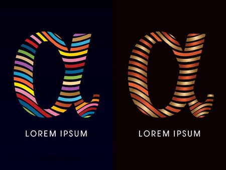 alpha: Alpha ,colorful font and luxury font ,designed using colorful line on dark background, concept move, wave, water, freestyle, happy, fun, joy, fantasy ,logo, symbol, icon, graphic, vector.