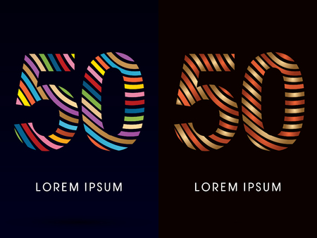 50 number: 50 number ,colorful font and luxury font ,designed using colorful line on dark background, concept move, wave, water, freestyle, happy, fun, joy, fantasy ,logo, symbol, icon, graphic, vector.