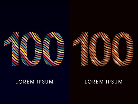 onehundred: 100  number ,colorful font and luxury font ,designed using colorful line on dark background, concept move, wave, water, freestyle, happy, fun, joy, fantasy ,logo, symbol, icon, graphic, vector.