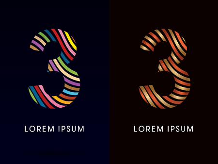 third birthday: 3  number ,colorful font and luxury font ,designed using colorful line on dark background, concept move, wave, water, freestyle, happy, fun, joy, fantasy ,logo, symbol, icon, graphic, vector.