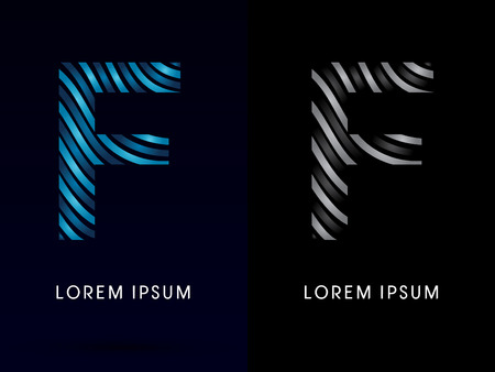 company background: F ,modern wave  font, designed using blue and black line on dark background, concept move, wave, water, freestyle, zebra line, fantasy, logo, symbol, icon, graphic, vector