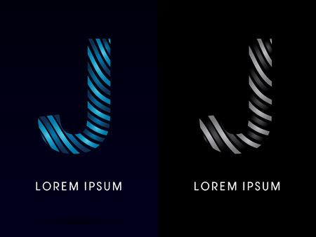 J ,modern wave  font, designed using blue and black line on dark background, concept move, wave, water, freestyle, zebra line, fantasy, logo, symbol, icon, graphic, vector
