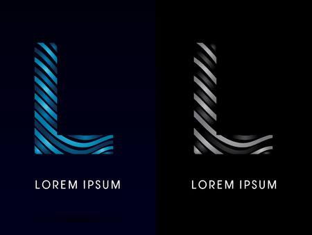 L ,modern wave  font, designed using blue and black line on dark background, concept move, wave, water, freestyle, zebra line, fantasy, logo, symbol, icon, graphic, vector
