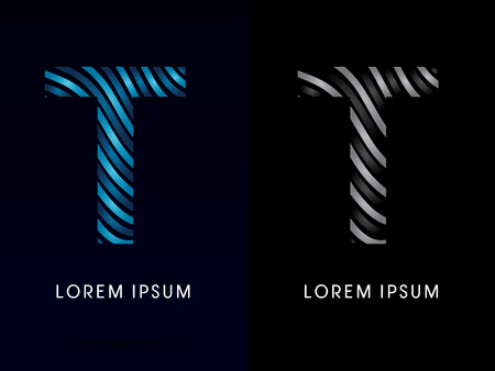 t background: T ,modern wave  font, designed using blue and black line on dark background, concept move, wave, water, freestyle, zebra line, fantasy, logo, symbol, icon, graphic, vector