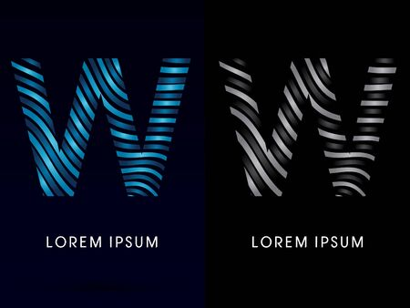 w: W ,modern wave  font, designed using blue and black line on dark background, concept move, wave, water, freestyle, zebra line, fantasy, logo, symbol, icon, graphic, vector