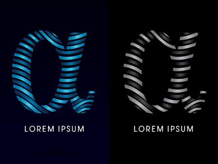 alpha: Alpha ,modern wave  font, designed using blue and black line on dark background, concept move, wave, water, freestyle, zebra line, fantasy, logo, symbol, icon, graphic, vector